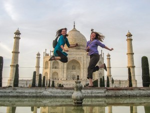 Jumping shot with my cousin at the Taj Mahal in India