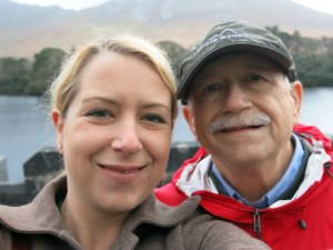 Leslie with her father and favorite travel companion who passed away less than a year ago at Kylemore Abbey in Ireland in 2013