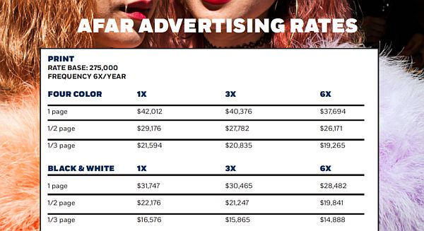 travel magazine ad rates